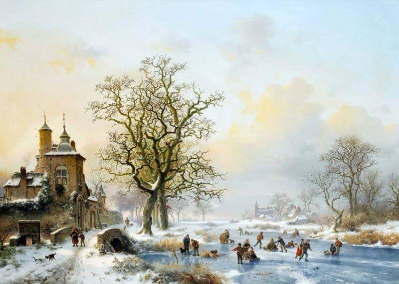 Zimowy krajobraz z łyżwiarzami