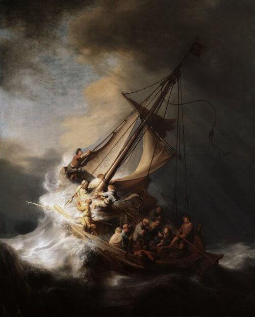 obraz burza na jeziorze