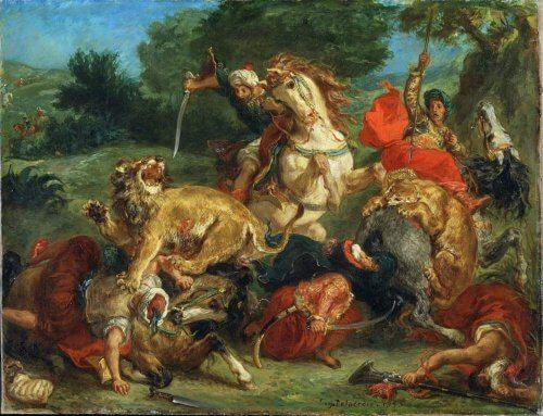 obraz polowanie na lwa
