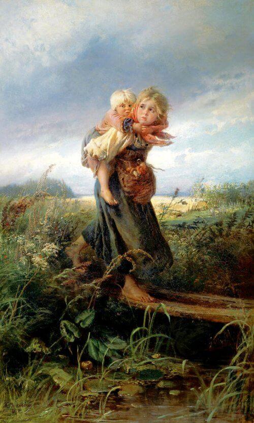 obraz dzieci uciekajace