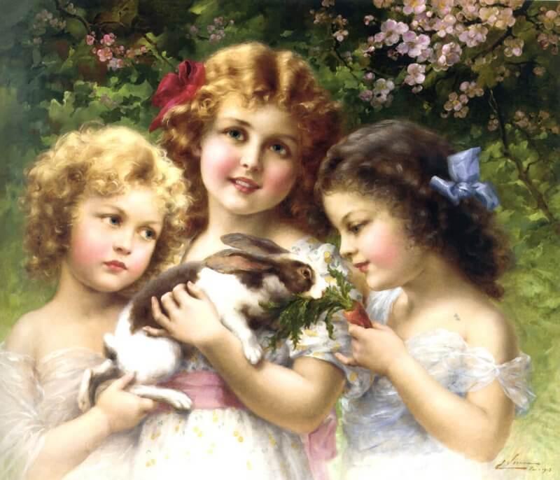 obraz dziewczeta z królikiem
