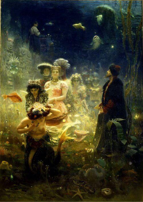 Obraz sadko w podwodnym królestwie