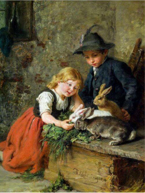 Dzieci Karmiące Zające