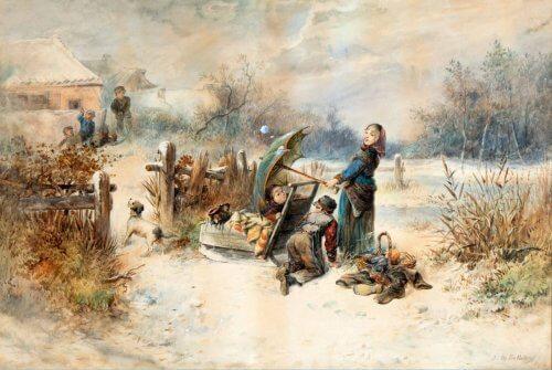 Obraz dzieci rzucające śnieżkami