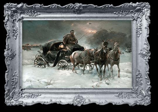"""Reprodukcja obrazu """"Podróżnik zimową nocą"""" - Alfred Wierusz Kowalski"""
